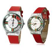 Translucence пары полосой шаблон Серебряный набор PU Группа Кварцевые аналоговые наручные часы (разных цветов)