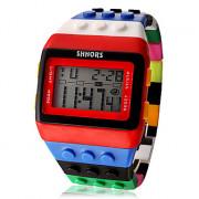 Цифровые наручные часы унисекс в стиле Лего со светодиодной подсветкой