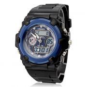 унисекс аналого-цифровых многофункциональных синий циферблат черный Резиновые наручные часы