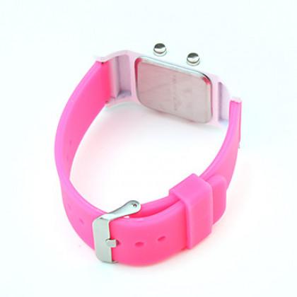 унисекс красный светодиод цифровые прямоугольник кейс розовый силиконовой лентой наручные часы