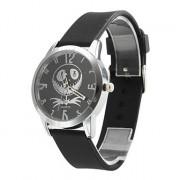 унисекс премии силиконовый стиль аналоговые кварцевые наручные часы (черный)
