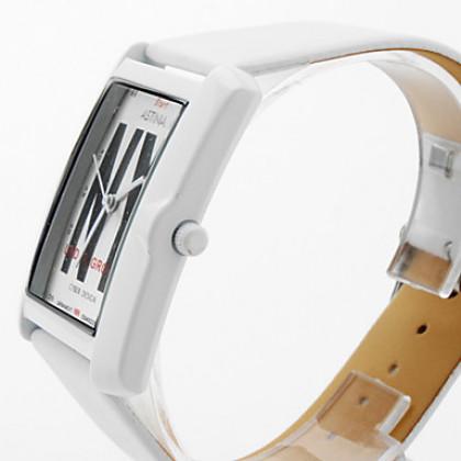 унисекс ПУ аналоговые кварцевые наручные часы (белый)