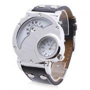 унисекс ПУ аналоговые кварцевые наручные часы бизнесе (2 часовой пояс, белый)