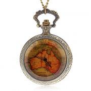 унисекс старинные карты шаблон кварцевые аналоговые карманные часы