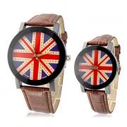 Великобритания пары флага шаблон PU Аналоговые кварцевые наручные часы (разные цвета полоса)