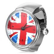 Великобритания Женские флага шаблон Сплав серебра кольцо Кварцевые часы