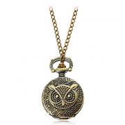 Vintage Сова Женские Pattern Круглый циферблат ожерелье смотреть
