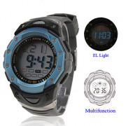 водонепроницаемая цифровая многофункциональная эль свет автоматические часы с календарем и хронографом и тревоги - синий