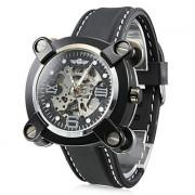 вскользь стиле силиконовый аналоговые механические наручные часы (черный)