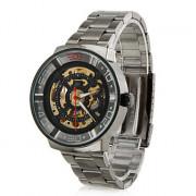 вскользь стиле сплава аналогового механические наручные часы (черный)