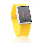 желтый силиконовой лентой унисекс красный светодиод спортивные наручные часы