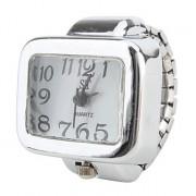 женщин большой площади диска размером белого сплава аналоговые кварцевые часы кольцо (серебро)