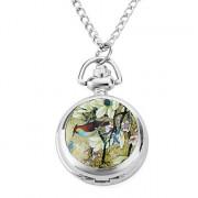 женщин китайская птица сплава аналоговые кварцевые часы ожерелье (серебро)