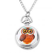 женщин мультфильм сова сплава аналоговые кварцевые часы ожерелье (серебро)