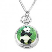 женщин панда сплава аналоговые кварцевые часы ожерелье (серебро)