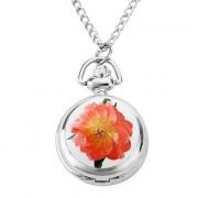 женщин poney цветок сплава аналоговые кварцевые часы ожерелье (серебро)