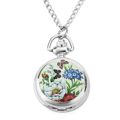 женщин сплава аналоговые кварцевые бабочка и цветок ожерелье часы (серебро)