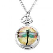 женщин сплава аналоговые кварцевые часы ожерелье с бамбуковыми стрекоза (серебро)
