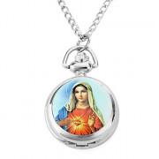 женщин сплава аналоговые кварцевые часы ожерелье с Девой Марией (серебро)