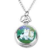 женщин сплава аналоговые кварцевые часы ожерелье с двумя кошками (серебро)