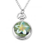 женщин сплава аналоговые кварцевые часы ожерелье с гардении (серебро)