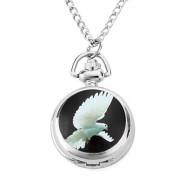 женщин сплава аналоговые кварцевые часы ожерелье с голубем (серебро)