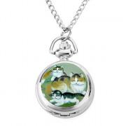 женщин сплава аналоговые кварцевые часы ожерелье с кошками (серебро)