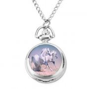 женщин сплава аналоговые кварцевые часы ожерелье с лошадью (серебро)