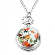 женщин сплава аналоговые кварцевые часы ожерелье с птицами (серебро)