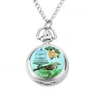 женщин сплава аналоговые кварцевые часы ожерелье с птицей и клетка (серебро)