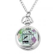 женщин сплава аналоговые кварцевые часы ожерелье с птицей (серебро)