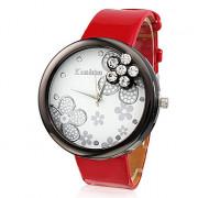 Женщин цветка Дизайн Модный Стиль Кожа PU Аналоговые кварцевые наручные часы (красный)
