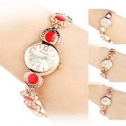 женщины сплава аналоговые кварцевые часы браслет (золото)