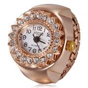 Женская Diamante Круглый циферблат из розового золота сплава кварцевые аналоговые кольцо смотреть