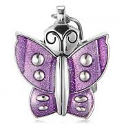 Женская Фиолетовый Бабочка Форма Белый циферблат Кварцевые Аналоговый брелок часы