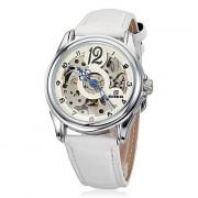 Женская Hollow Гравировка Круглый циферблат PU Группа Auto-Механические наручные часы