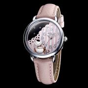 Женская Кофе Декор удаленного Розовый Кожаный ремешок Кварцевые аналоговые наручные часы