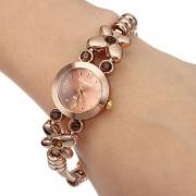 Женская Маленький круглый циферблат Diamante цветок сплава группы Кварцевые аналоговые наручные часы