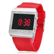 Женская Многофункциональный Diamante площади набора силиконовой лентой светодиодный цифровой наручные часы (разных цветов)