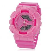 Женская Многофункциональный Круглый циферблат Rubber Band аналого-цифровой наручные часы