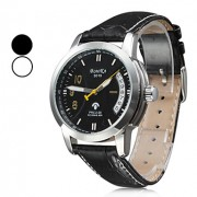 Женская мода Стиль PU аналоговые механические наручные часы (черный)