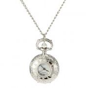 Женская полые крышки Сплав серебра кварцевые аналоговые Ожерелье Watch
