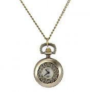 Женская полые цветок Обложка сплава год сбора винограда кварцевые аналоговые Ожерелье Watch