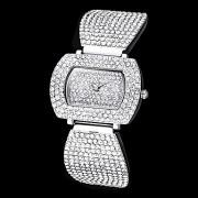 женская полный алмазов прямоугольник набора стальной ленты кварцевые аналоговые наручные часы (разные цвета)