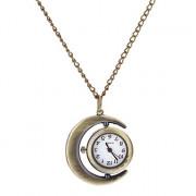 Женская Урожай круглый циферблат Pattern Полумесяца кварцевые аналоговые Ожерелье Watch