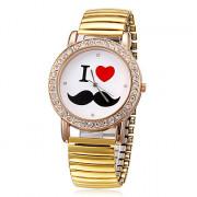 Женская Усы Pttern Круглый циферблат золотой сплав Группа Кварцевые аналоговые наручные часы