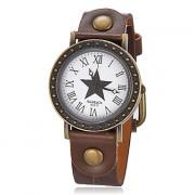 Женская Винтаж звезда шаблон Круглый циферблат PU Группа Кварцевые аналоговые наручные часы (разных цветов)