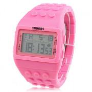женская ЖК цифровой стиль блок кирпич полосе, наручные часы (розовый)
