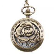 """Женские аналоговые кварцевые карманные часы из сплава с узором розы (""""под бронзу"""")"""