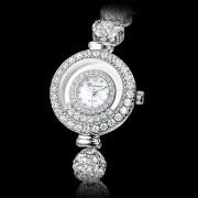 """Женские аналоговые кварцевые наручные часы-браслет со стразами (""""под серебро"""")"""